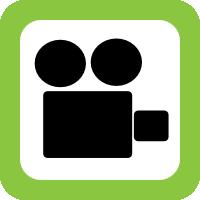 schwarzes Kamera-Piktoramm mit gruener Umrandung
